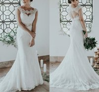 Modest Mermaid Wedding Dresses Applique Lace Bridal Gowns Cap Sleeves Sweep Train Backless Country vestido de noiva