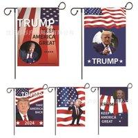 2024 트럼프 캠페인 가든 플래그 안뜰 장식 깃대 파티 용품 장식 미국 국기 인쇄 아메리카 G60KLKC 유지