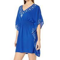 Быстрое сушильное повседневное вышитое V-образным вырезом Boho летнее пляжное платье синий хлопчатобумажная туника женщины пляжная одежда плюс размер мини-платья N924 210416