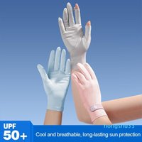 Summer Women Sun Protection Gloves Fashion Candy Color Non-Slip Breathable Thin Silk Cycling Fishing Driving Five Fingers