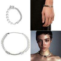 Earrings & Necklace 2Pcs Women Elegant White Pearl Metal Choker Bracelet Statement Jewelry Set Fashion S24 21 Drop