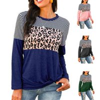 T Shirts For Women Loose Pullovers Fashion Casual Leopard Print Stitching O-neck Tops New Arrival Long Sleeve Autumn Womens Tees