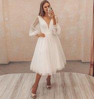 Короткое свадебное платье 2021 длинные слойные рукава простые элегантные V-образным вырезом до колена доля халат де Марие изготовлена на заказ Гражданский пляж дешево