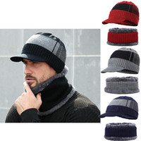 Hats, Scarves & Gloves Sets Fashion Mens Winter Warm Knitted Beanies Hats With Bib Scarf 2Pcs Bonnet Beanie Cap Outdoor Riding Set