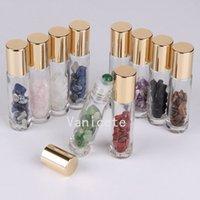 10ml Embalagem de garrafas Natural Pedras Semipreciosas Pedras Essenciais Gemstone Roller Ball Ball Garrafa De Vidro Cura Cristal Chips T2I52493