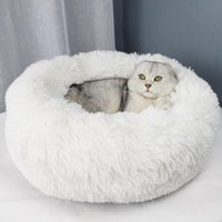 Cat Beds & Furniture Round Long Plush Bed Pet House Soft Mat Dog For Small Dogs Cats Nest Sleeping Puppy Cushion Drop