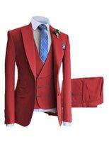 Solovedress Mens Ensemble d'affaires en 3 pièces Rouge à double boutonnage Rouge Party Party Mariage Occasions Formal Personnalisation Downsize Simple X0909