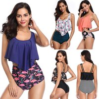 Women's Swimwear Two Pieces Women Ruffled Print Separate Swimsuit High Waist Bathing Suit 2021 Summer Fashion Bikini Biquini Tankini Set