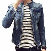 M-3XL Men Denim Vestes pour Hommes Stand Coup de Cotton Vêtements De Vêtements Jean Jacket Slim Cit Casual avec poches Manteaux pour V9BM #