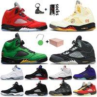 nike air retro jordan 5 off white 5 5s 2020 Beyaz Kapalı Ateş Kırmızısı ile Kutusu Jumpman 5 5s Erkek Basketbol Ayakkabı Retro Muslin Oregon Hava Alternatif Üzüm Sneakers