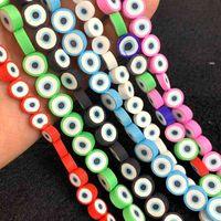 8/10mm Eyes misto Evil Polymer Clay Round Flat Spacer Spacer Spacer Perline per gioielli Making fai da te Braccialetto Accessori per collana