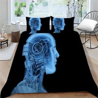Bedding Sets 3D Robot Bed Set Artificial Intelligence Cool Quilt Cover Queen Twin Full Single King Black For Boys