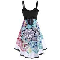 Casual Dresses Plus Size Women Floral Print Sleeveless Spaghetti Strap Strapless Dress Irregular Ruffles Summer Party Vestidos