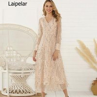Casual Dresses 2021 Autumn Women Dress Long Sleeve Sexy V-Neck Sparkly Elegant Sequins Plus Size Shiny Party Evening African Maxi