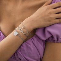 European Geometric Ball Pendant Bracelets Metal Round Piece Ellipse Thick Thin Chain For Women Multi Layer Beach Gold Bracelet Jewelry Accessories Wholesale