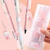 هلام أقلام 8 قطعة / المجموعة ساكورا 0.5 ملليمتر رصاص ميكانيكية مع ملصقات kawaii ملصقات هدية القلم مربع مجموعة للبنات القرطاسية المدرسة