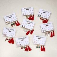 8 style Christmas Earrings 6pair   set socks bell pearl tassel combination card Ear Hook Set T2I52791