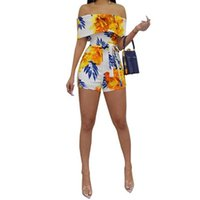 Women's Tracksuits Floral Print Crop Top & Short Sets Beach Womens Outfits Summer Suit Sexy Two Piece Set Streetwear Plus Size S-2xl