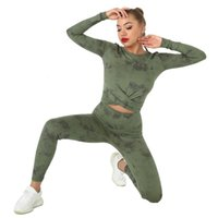 Women's Tracksuits Women Gym Set Nude Sanded Fitness Clothing Long Sleeve Crop Tops Leggings Suit Two-Piece Yoga Tie-dye Clothes GOVE