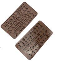 DIY Digital Silicona Molde de chocolate Números Molde de pastel de calidad de alimento Silicona Jalea Molde Feliz Cumpleaños Pastel Decoración DWF10805