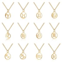 12 Constell Pendant Necklace Stainless Steel Silver Gold Zodiac Horoscope Sign Necklaces Chains for women fashion jewelry will and sandy Virgo Libra Taurus Gemini