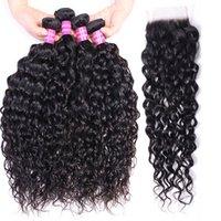 Human Hair Water Wave Bundles with Hair Weave Closure 4x4 Wholesale 4 Bundles Remy Virgin Indian Hair Weaves