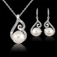 2016 neueste frauen kristall perle anhänger halskette ohrring schmuck set 925 silber kette halskette schmuck 12 stücke sale 909 q2
