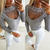 Women's Sweaters Women Fashion Lace Long Sleeve Patchwork Slim Ladies Casual Tops Tight Slipper Solid Pullovers Coats