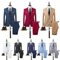Men's Suits & Blazers Costume Homme Mens Blazer Suit Ensembles Slim Tuxedo Coat Pants Formal Evening Dinner Wedding Groom