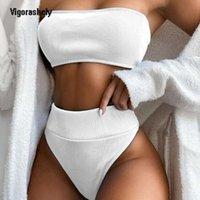 Vigoryleshely sin tirantes trajes de baño mujeres sexy alta cintura bikini 2020 dos piezas traje de baño hembra empuje hacia arriba juego bikini conjunto baño baño nadar