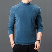 hookie 패션 스타일 가을 새로운 솔리드 컬러 긴 소매 티셔츠베이스 코트 하프 하이 칼라 수 놓은 더블 페이스 벨벳 남성 스웨터 티셔츠에 대 한 완벽 한