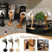 Flutuando derramando xícara de café escultura decoração cozinha derramando magia despejando splash criativo caneca de café decoração