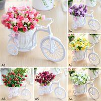 Artificial Rose Rattan Vase + Flowers Meters Spring Scenery Flower Set Home Wedding Decoration Birthday Gift Decorative & Wreaths