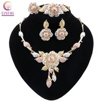 Earrings & Necklace CYNTHIA African Jewelry Sets Flower Bracelet Dubai Gold Set For Women Wedding Party Bridal Ring