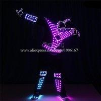 파티 장식 프로그래밍 가능한 남자 LED 광섬유 트론 로봇 의상 댄스 팀 풀 컬러 라이트 DJ 의류 빛나는 무대 디스코 양복 착용