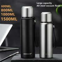 Thermos Stainless Steel Vacuum Flask Outdoor Portable Car Coffee Water Bottle Rope Filter Insulated Hydro 600 800 1000 1500ML 210913