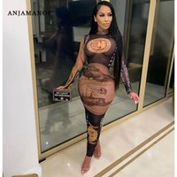 Sexy Black gold Money Printed Stretch Mesh Dresses For Women Party Club Sheer Long Sleeve Bodycon Maxi Dress D85-BE16 Casual