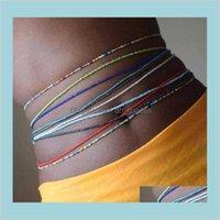 Boho tredny المرأة الملونة الأرز الخرز الخصر سلسلة الصيف شاطئ الأزياء الجسم مجوهرات مثير سلاسل البطن الملحقات انخفاض التسليم 2021 ثانية
