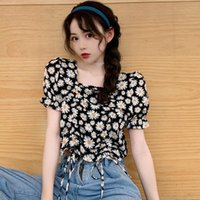 Kadın Şifon Gömlek Moda Tatlı Çiçek Baskı Kırpma Tops Seksi Ince Kare Yaka Kısa Kollu Pileli İpli Bluz kadın Bluzlar sh
