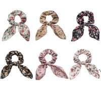 Scrunchy hairbands أرنب الأذن العصابات الشعر الأزهار رباطات الرجعية البوهيمي ذيل حصان الشعر حبل هيرباند FWC7047