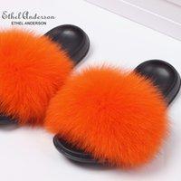 2019 Ethel Anderson Real Fur Slippers Slides Vogue Summer Extra Large Fur Flip Flop Holiday Sandals Plus Size Shoes Q0508