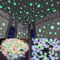 Wall Stickers 3D Star And Moon Energy Storage Fluorescent Glow In The Dark Luminous For Kids Bedroom Ceiling Home Decor Decal