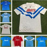 1988/1989 Retro Napoli Away Soccer Jerseys 86/87 88/89 Red Maradona Careca Shirt Kurzarm Football Uniform Verkauf