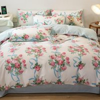 Bedding Sets Plant Leaves Floral Printed Duvet Cover Set 3 4pcs Twin Full Queen 100%Cotton Soft Bed Sheet Pillowcases For Girls