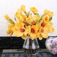 Магнолия искусственный цветок 5branch Прекрасные ткани Поддельные цветы Ручной работы DIY Party Home Свадебные украшения декоративные венки