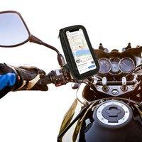 Moto retrovisor espejo bolsa impermeable soporte de montaje de teléfono celular con rotación 360