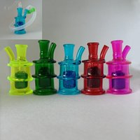 Mini Glass Oil Burner Bong Set Smoking Hookah With 10mm Male Burning Pipe Silicone Hose Drip Tip Recycler Thick Tiny Water Bubbler
