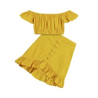 Clothing Sets Boho Summer Kids Girl Clothes Off Shoulder Crop Tops+Button Ruffles Skirts Vacation Girl's Solid Color Beach Outfits 1-6Y