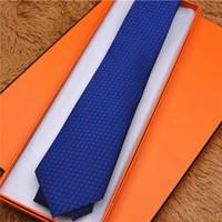 럭셔리 남성 100 % 실크 넥타이 자카드 원사 염색 넥타이 표준 브랜드 선물 상자 포장