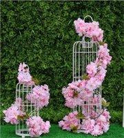 6 ألوان 2.3 متر الكرز الزهور الاصطناعية الكرز زهر ساكورا قصب كرمة للزينة الزفاف جدار الخيالة زهرة سلسلة NHD6501